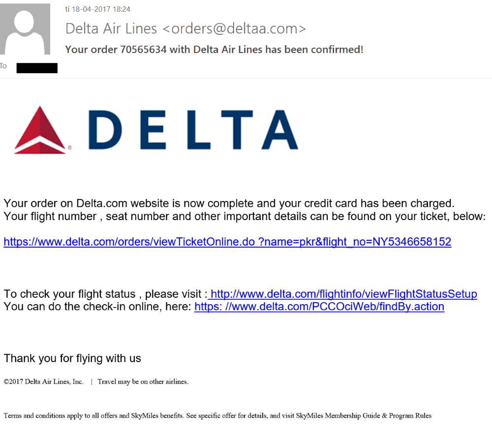 delta phishing email common airlines scam