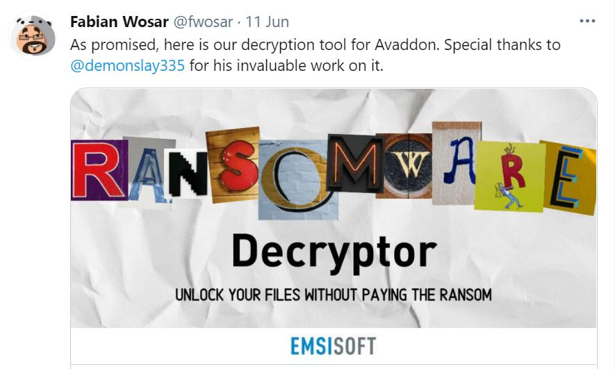 Emsisoft decryption tool annoucement