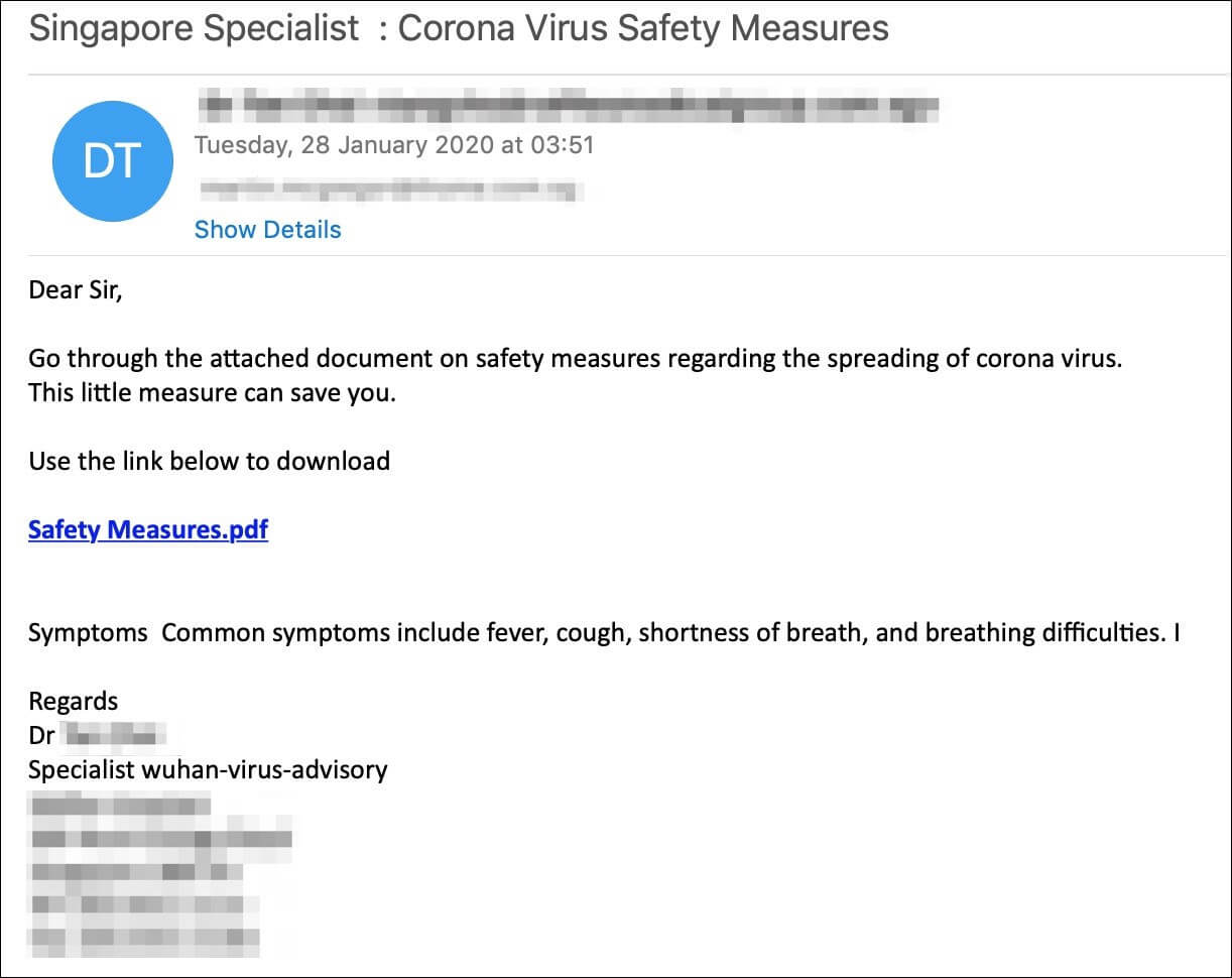 corona virus phishing campaign screenshot