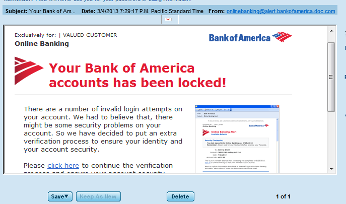 Bank Phishing Scam Email