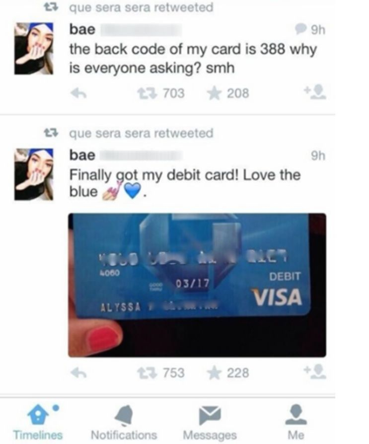 Debit Card Twitter Oversharing