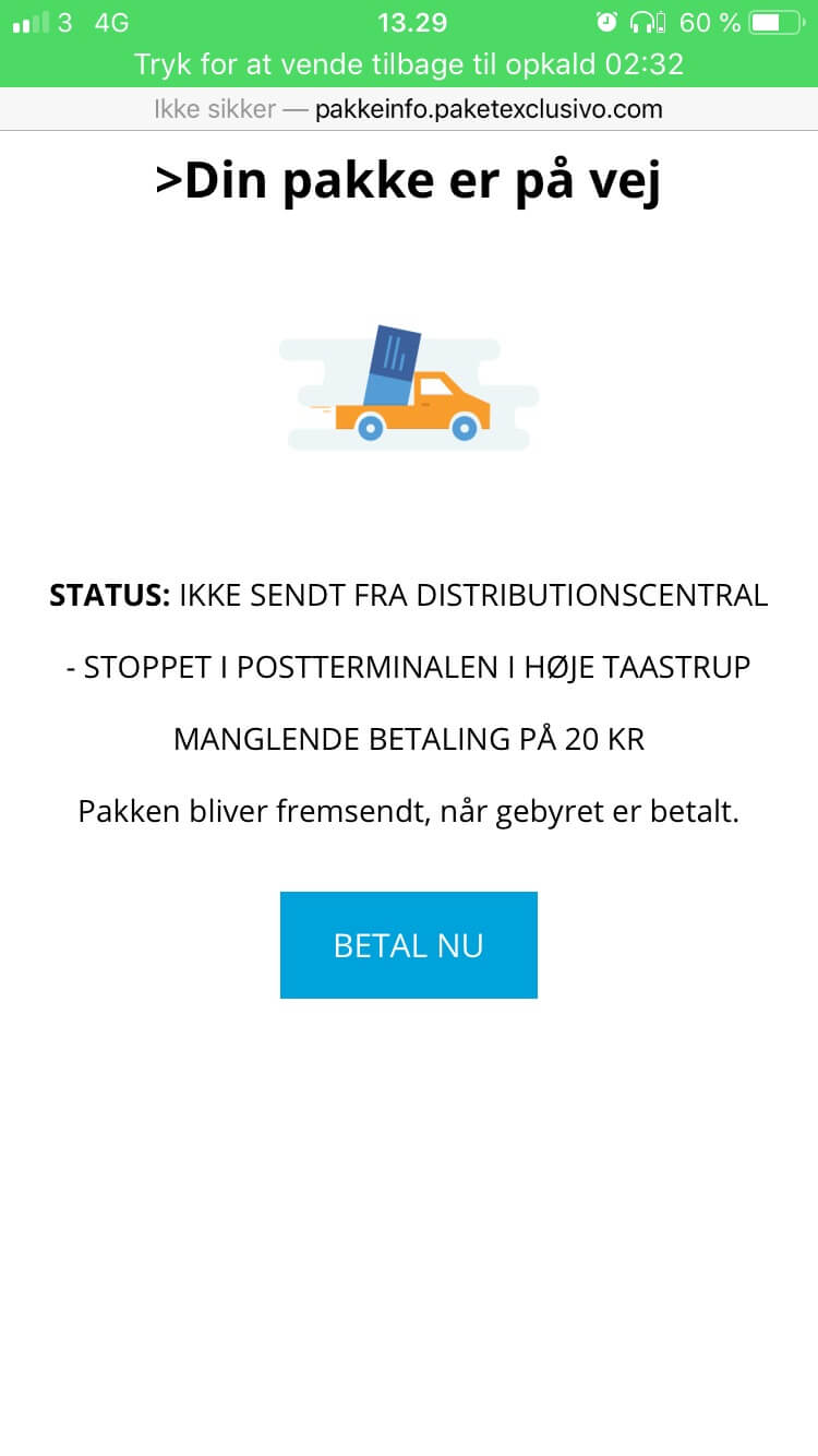 screen with delivery status