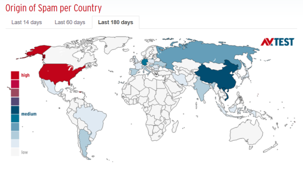 4 origins of spam per country