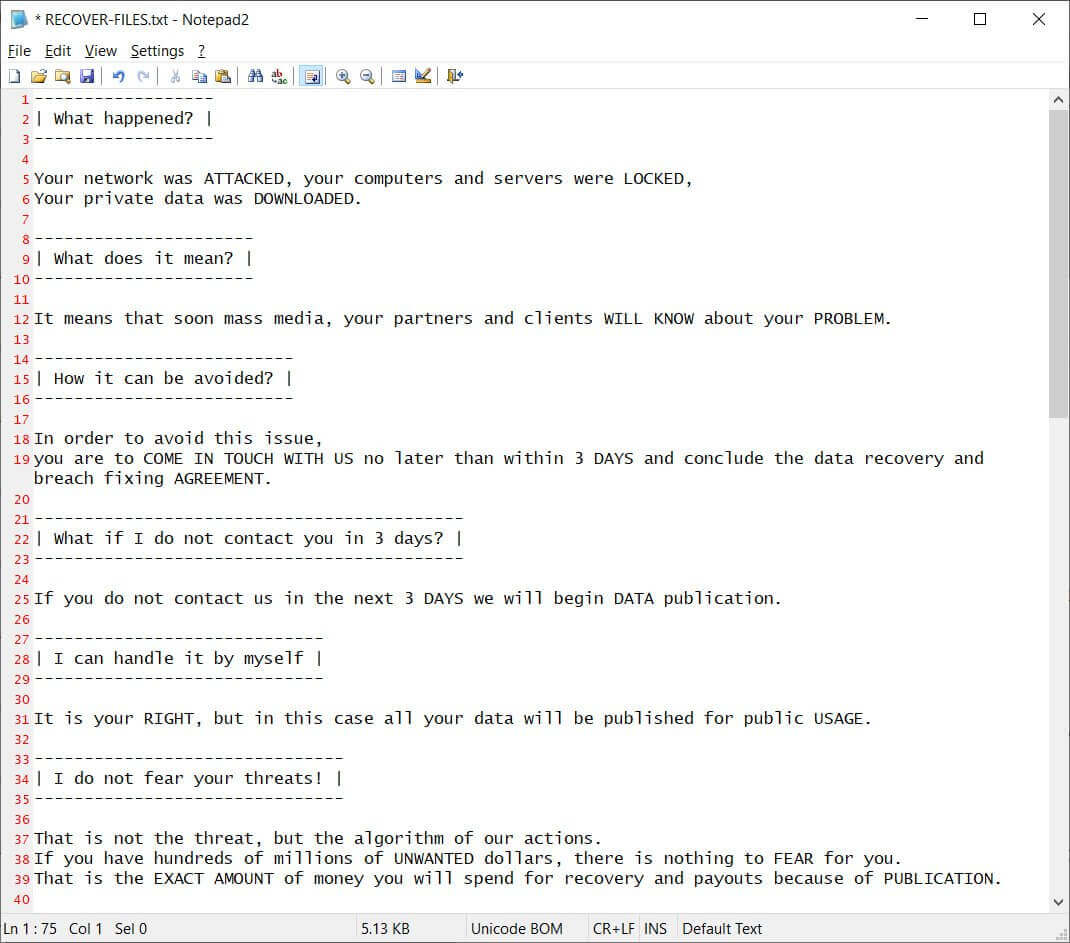 egregor ransomware - ransom note