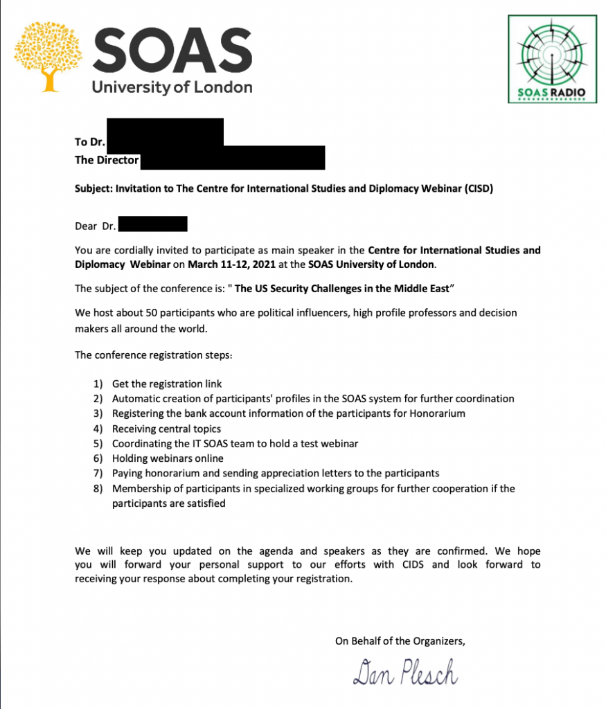 A spear-phishing letter sent by Charming Kitten using University of London's School of Oriental and African Studies letterhead to fool its victims