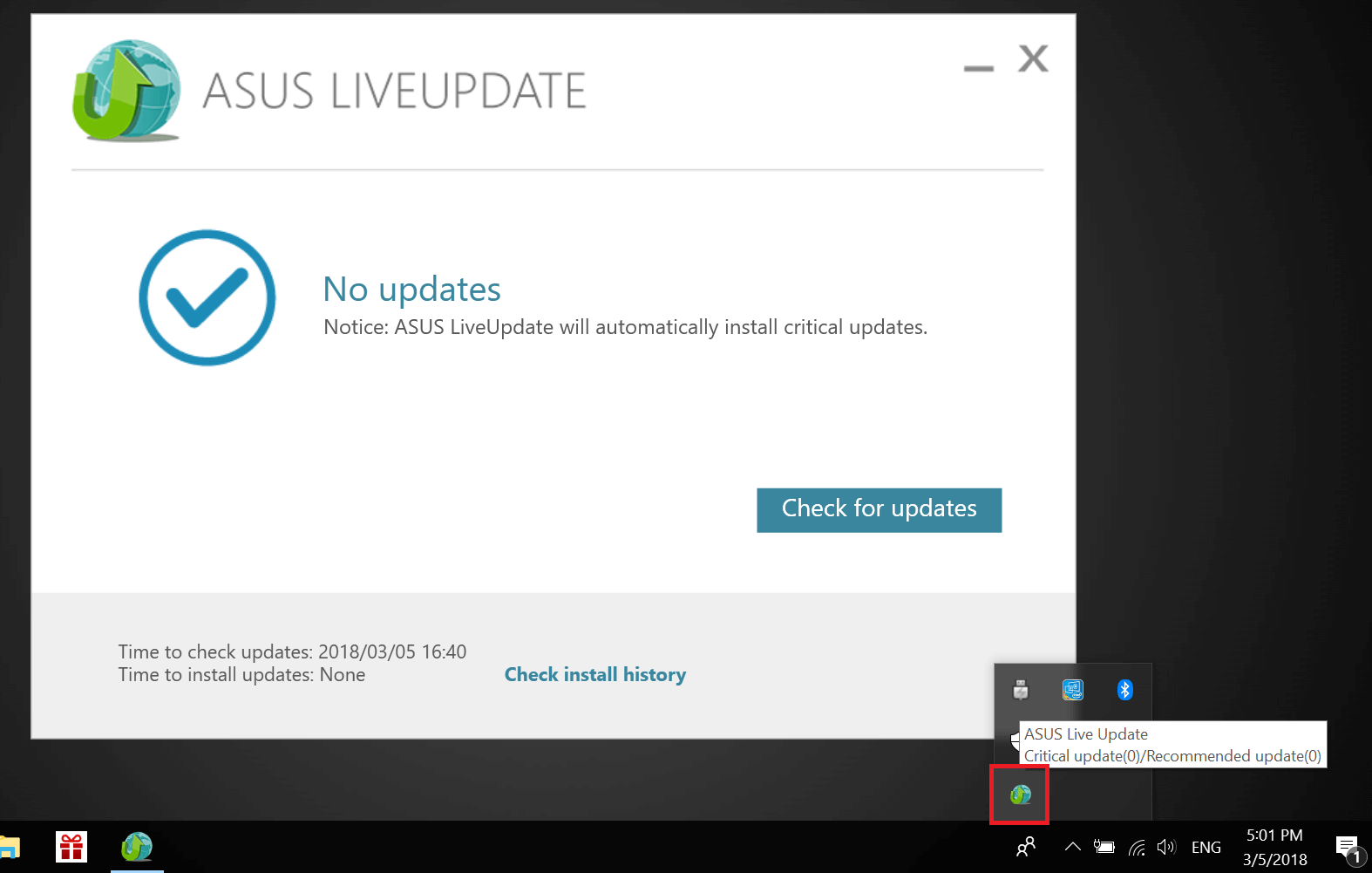 ASUS live update in icon bar