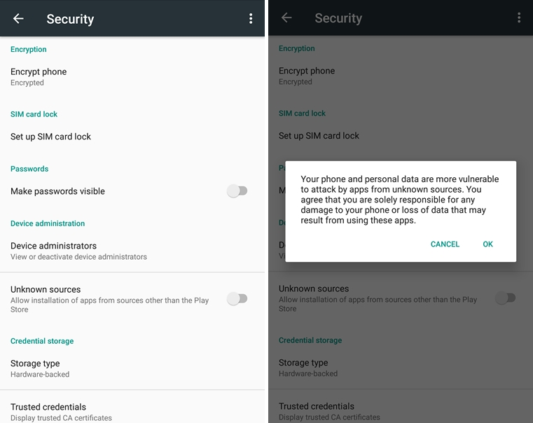 how to allow downloads from unknown sources on android