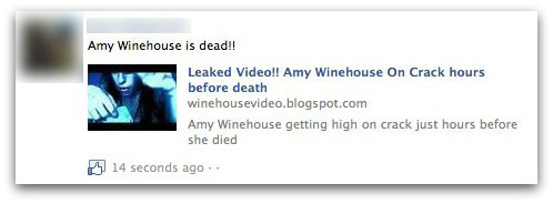 Amy Winehouse dead - Facebook scam