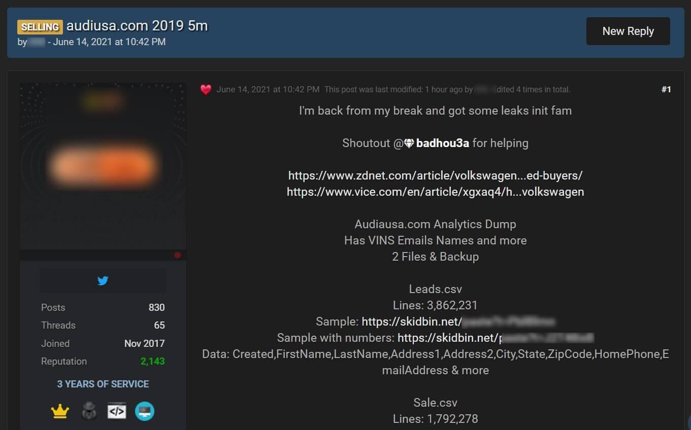Audi and Volksvagen forum post