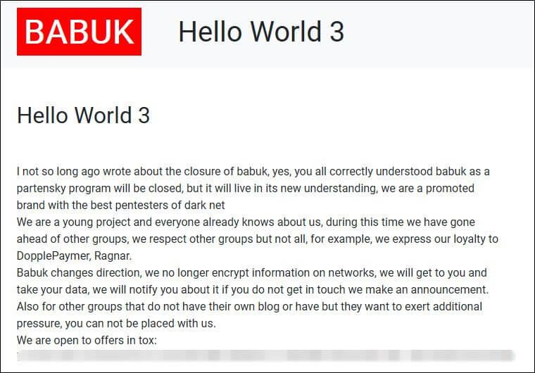Babuk Hello world message