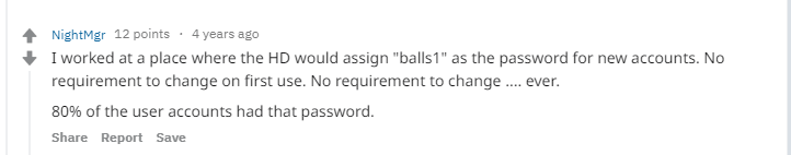 company setting a bad default password