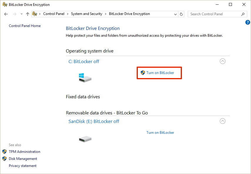 Bitlocker for Windows 10