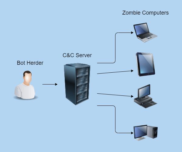 Botnet structure concept image