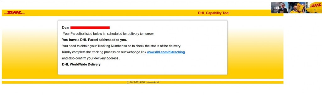 DHL Shipment phishing 2015