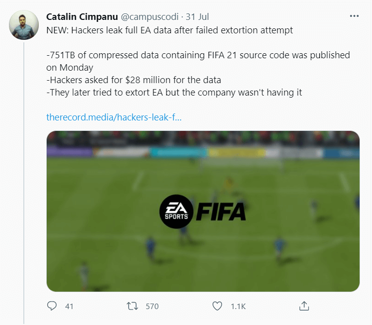 EA Data Leakage Twitter post picture