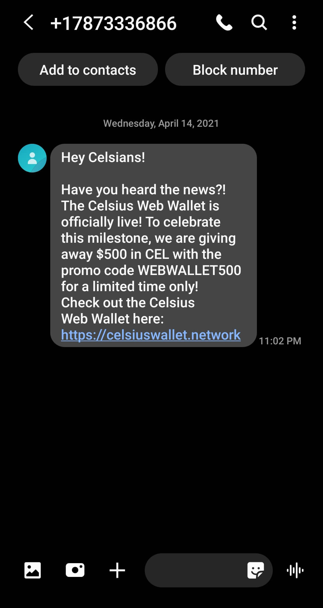 Celsius SMS phishing image heimdal security