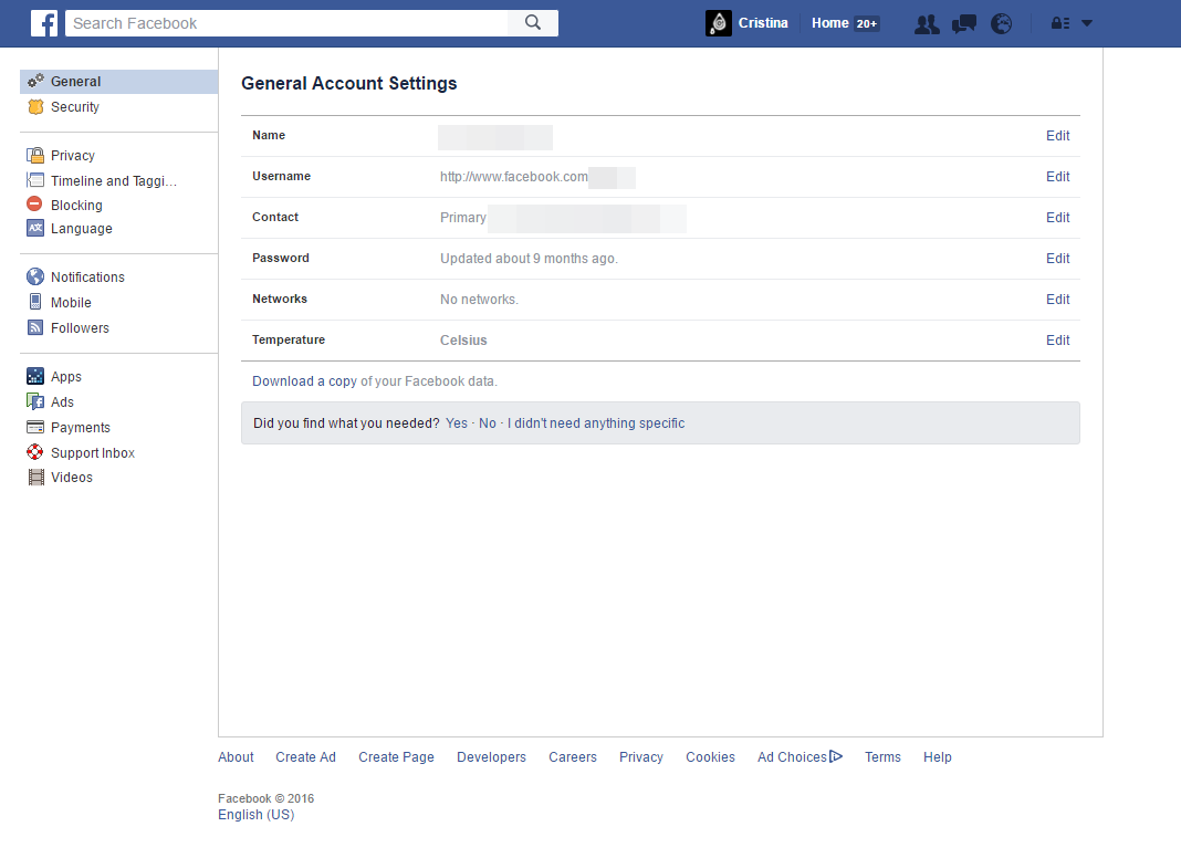 Facebook - General Account Settings (Change Password and Download your Data)