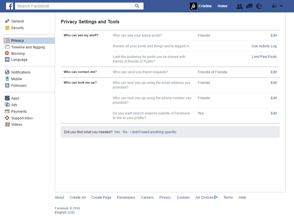 Facebook - Privacy Settings and Tools