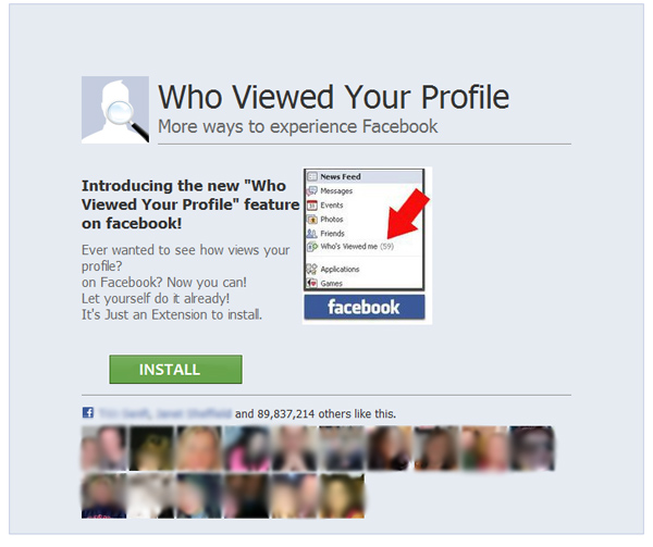 Facebook Scam - Who viewed your profile