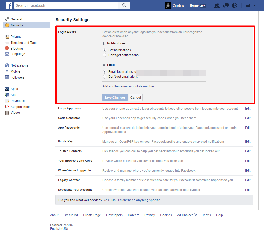 Facebook - Security Settings - Login Alerts