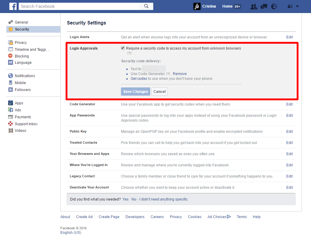 Facebook - Security Settings - Login Approvals