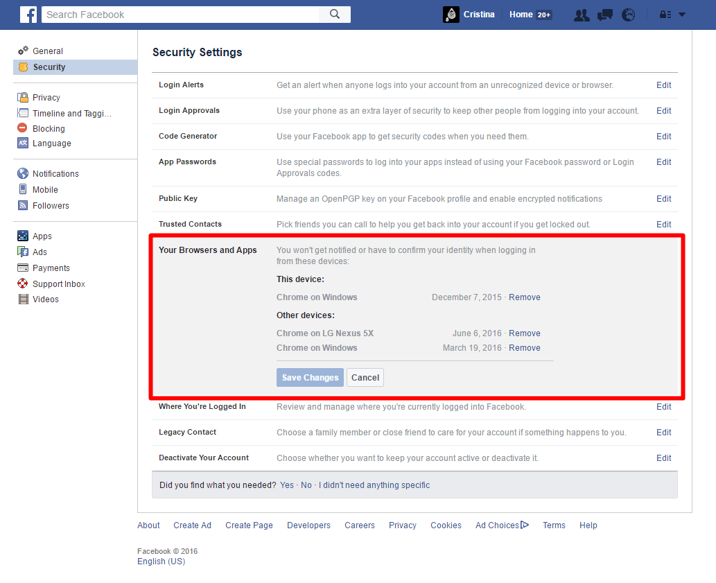 Facebook - Security Settings - Login Locations (Browsers & Apps)