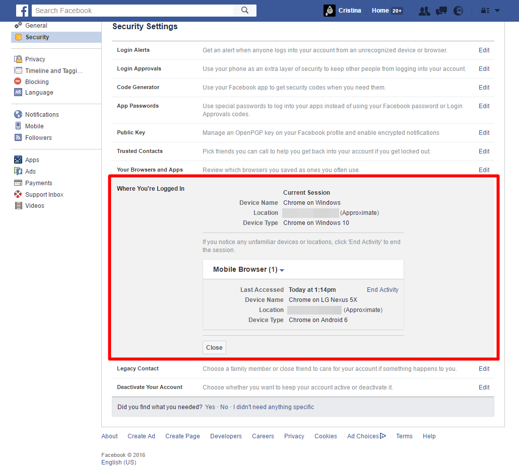 Facebook - Security Settings - Login Locations (Where You're Logged In From)