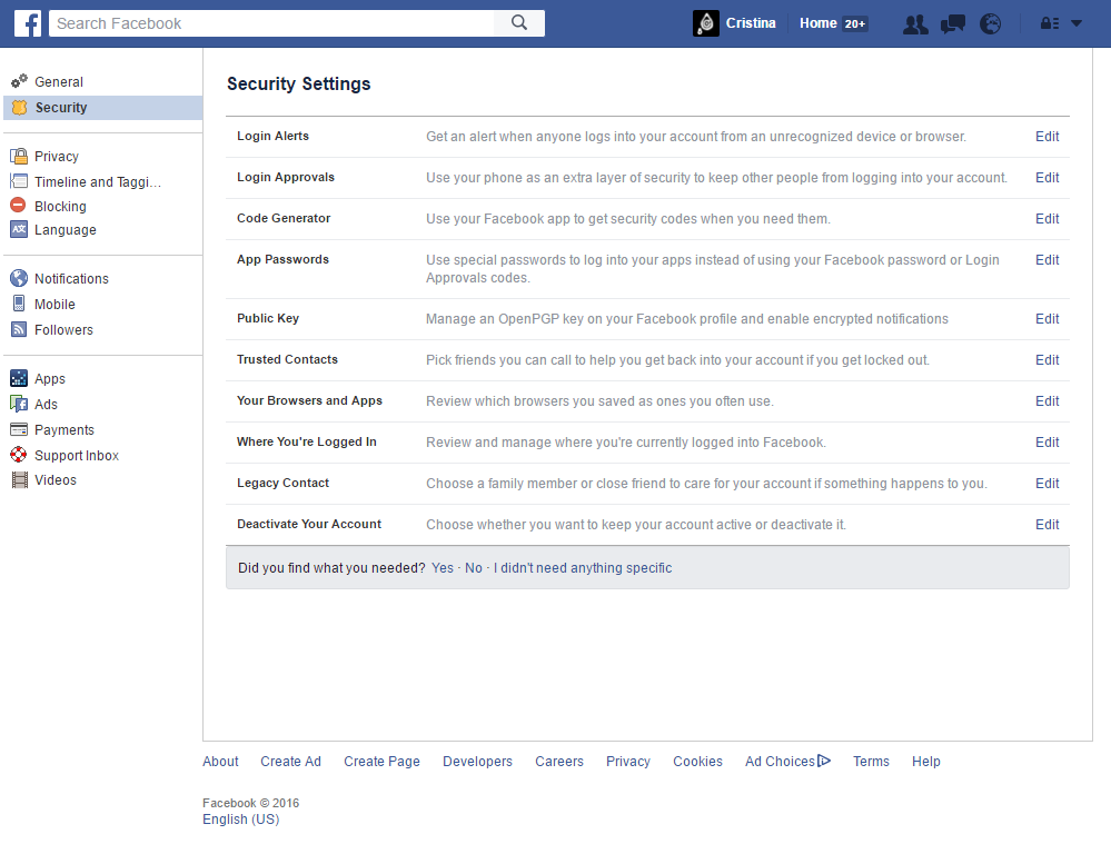 Facebook - Security Settings