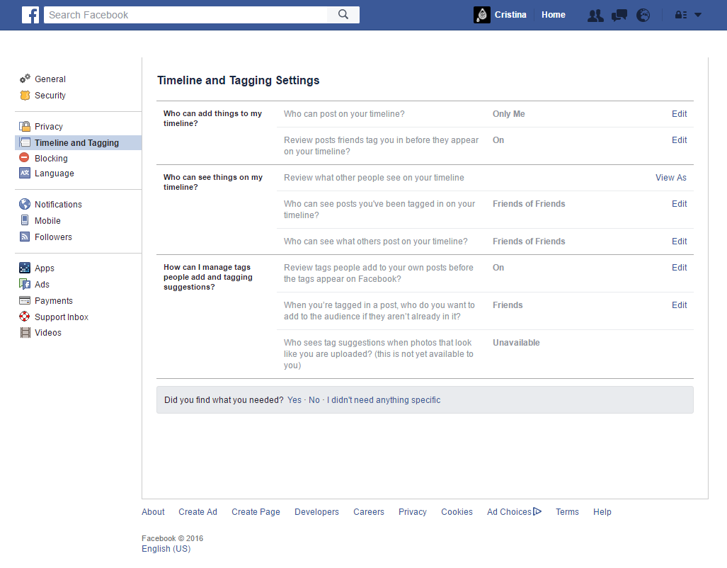 Facebook - Timeline and Tagging Settings