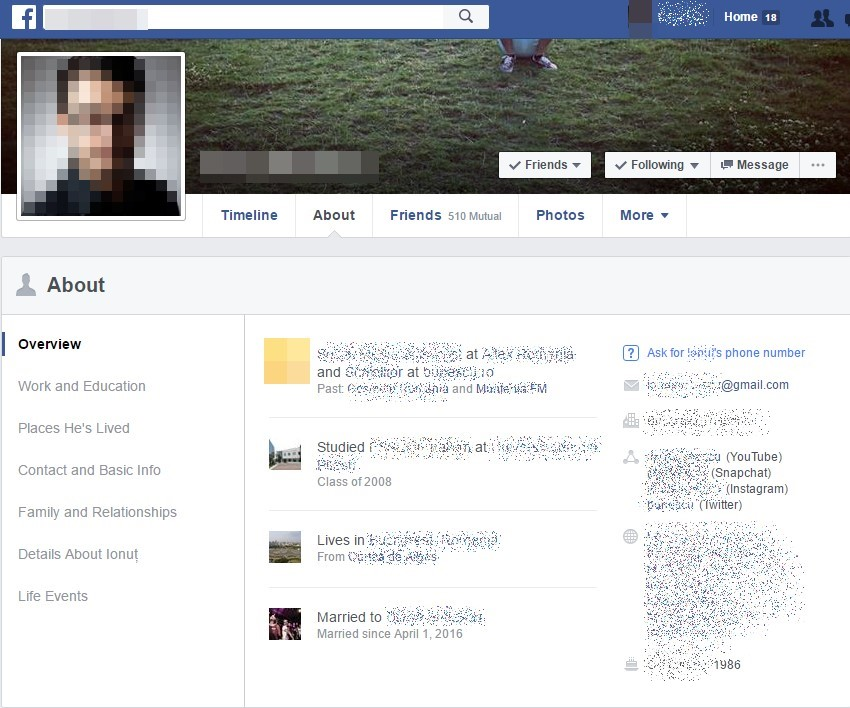 Facebook user profile
