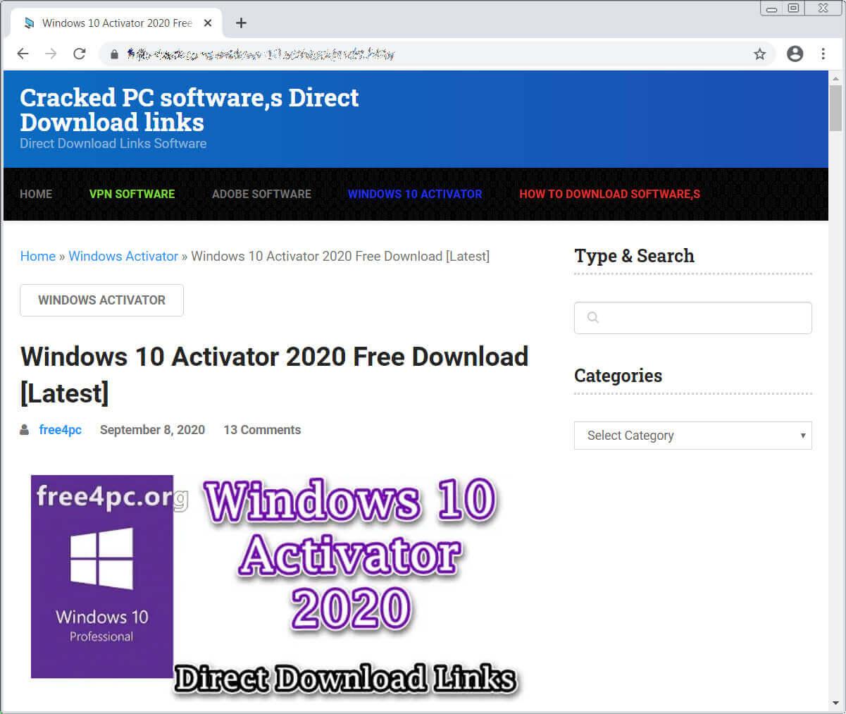 Fake crack site distributing ransomware