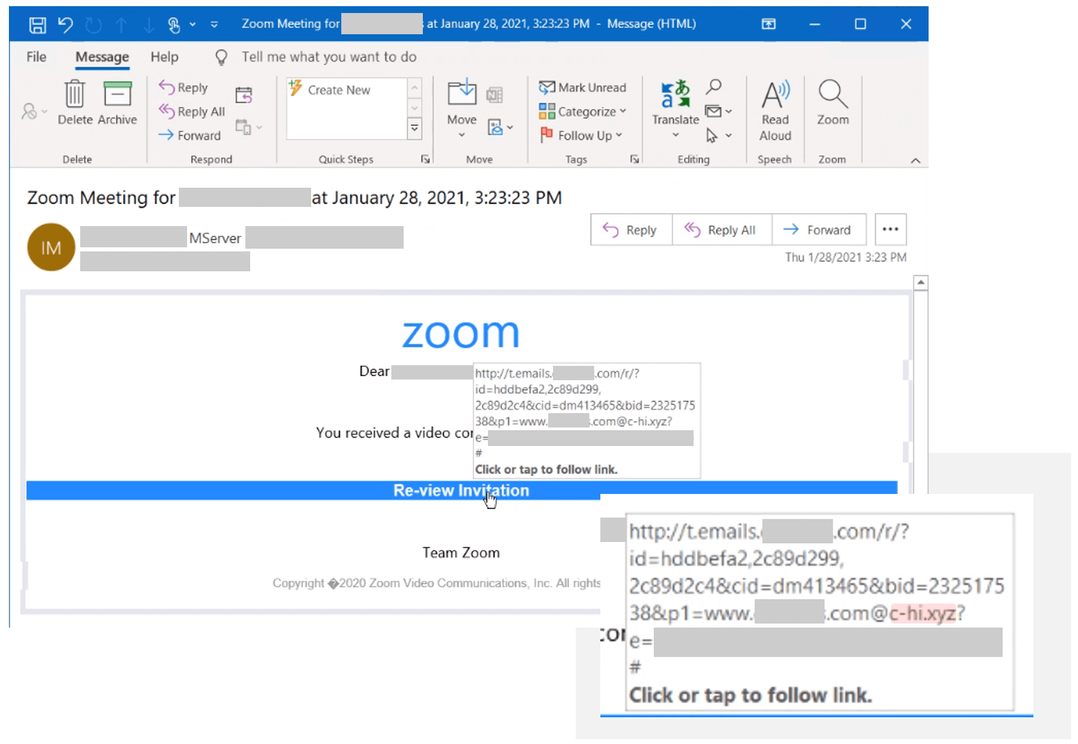 E-mail Zoom example in the open redirects phishing campaign