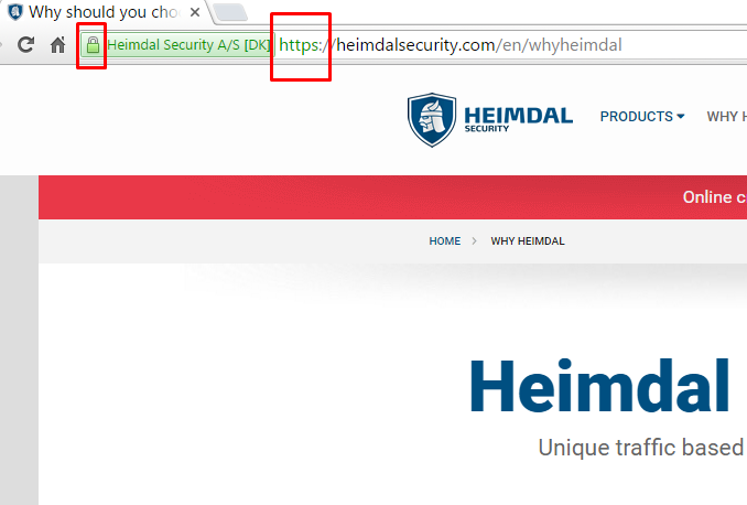 Heimdal Security - https & green lock in address bar - secure connection