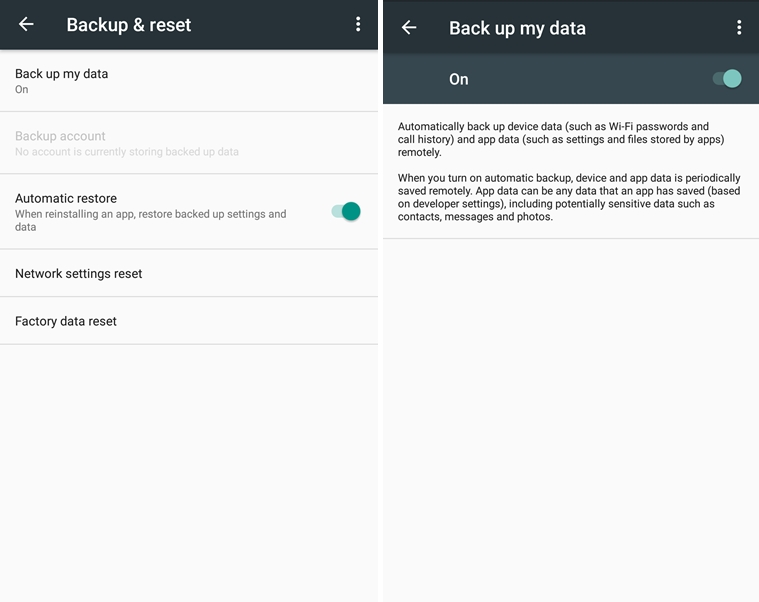 How to backup my data screenshot (Nexus)