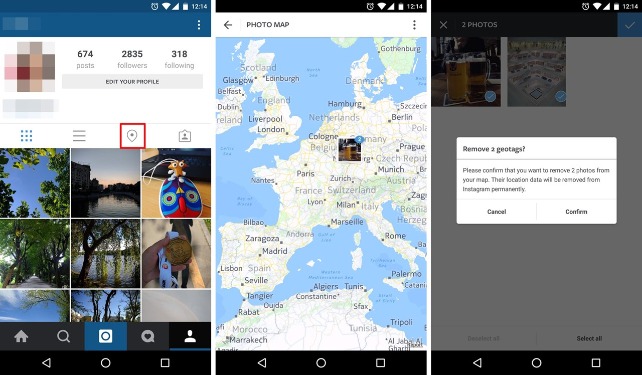 How to remove geo tag location from Instagram account