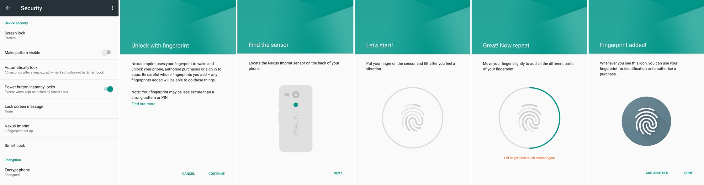 How to set up fingerprint unlock screenshot (Nexus)