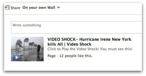 Hurricane Irene Facebook scam