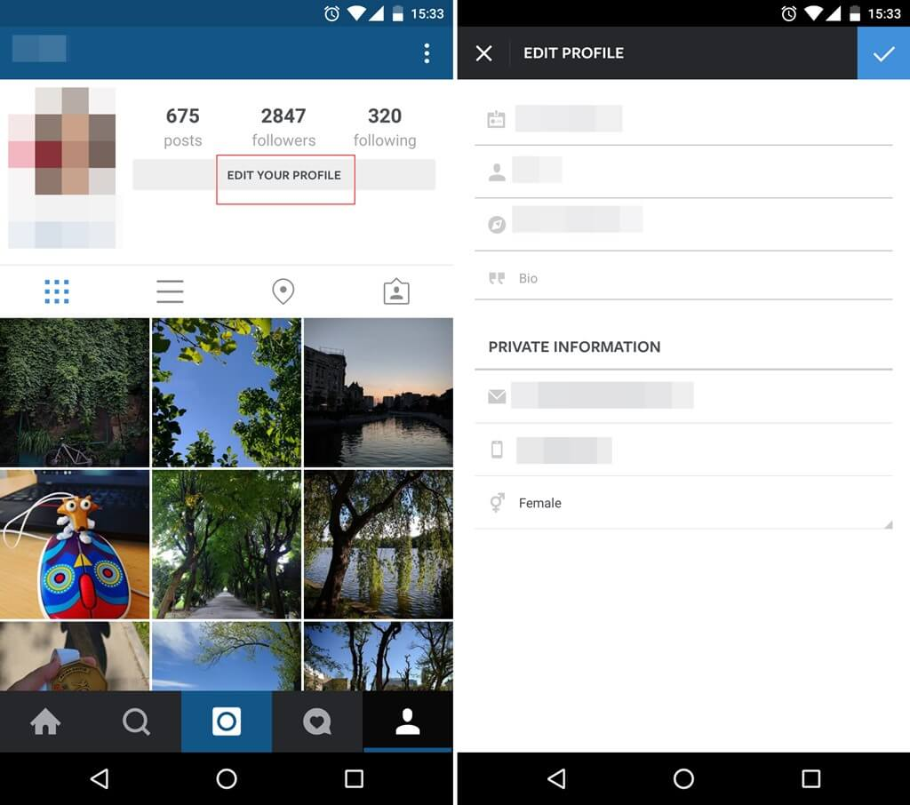 Instagram Security How to edit your profile information 1
