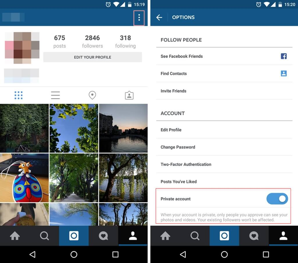 Instagram Security Make your account private 1