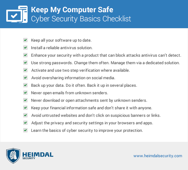Keep My Computer Safe from Cyber Threats that Target Home Users checklist