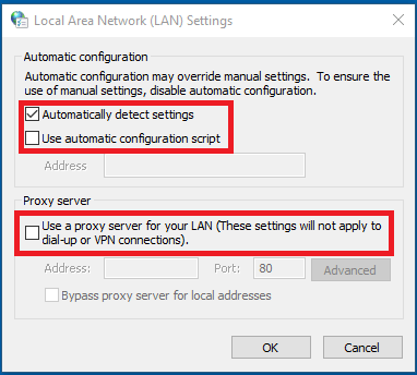 LAN settings