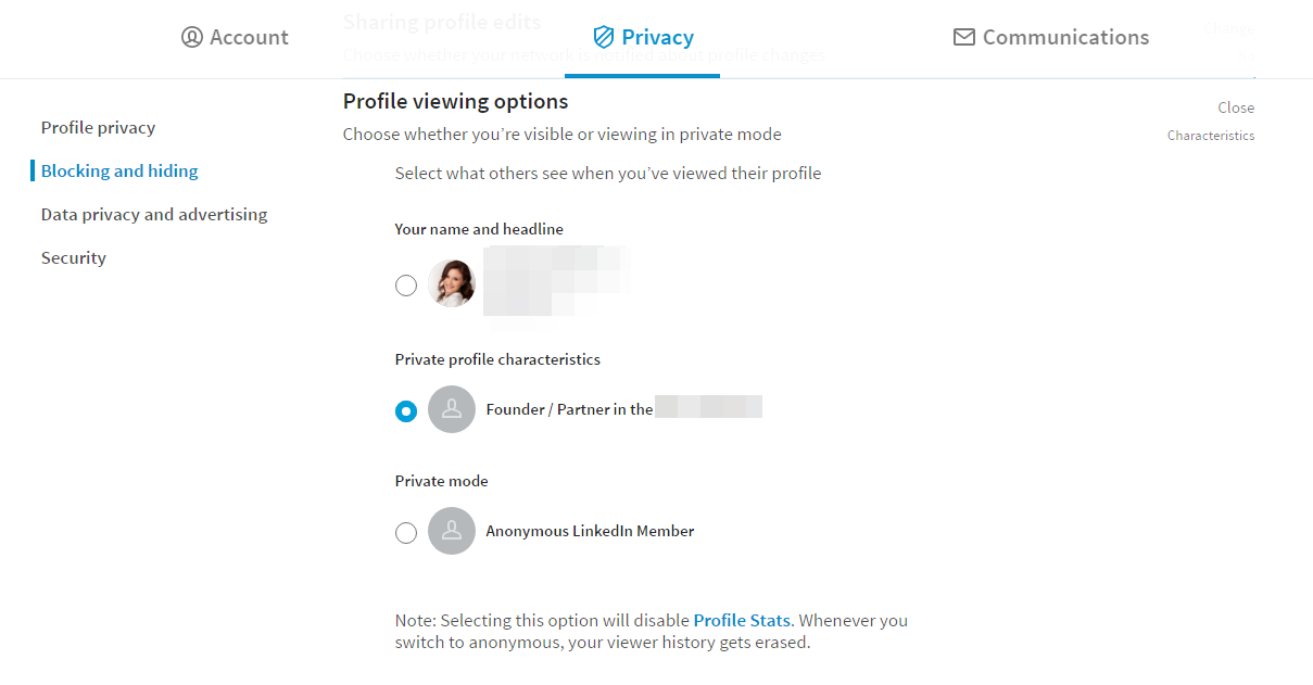 LinkedIn security - Profile viewing options