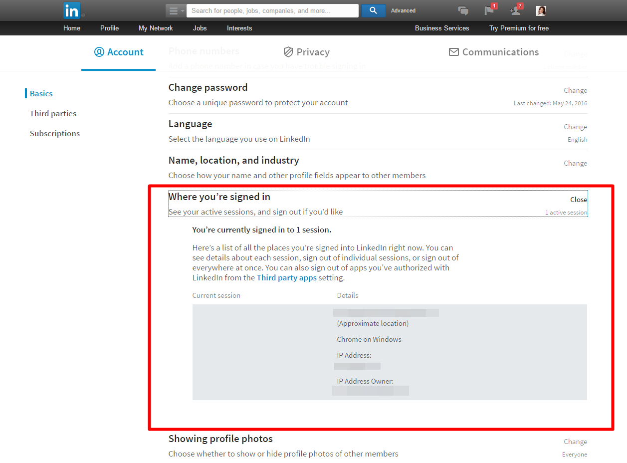 LinkedIn security - View active sessions