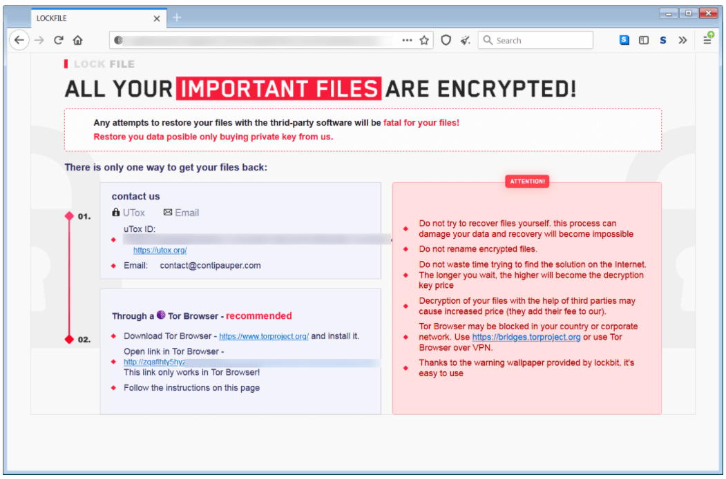 Example of ransom note LockFile ransomware
