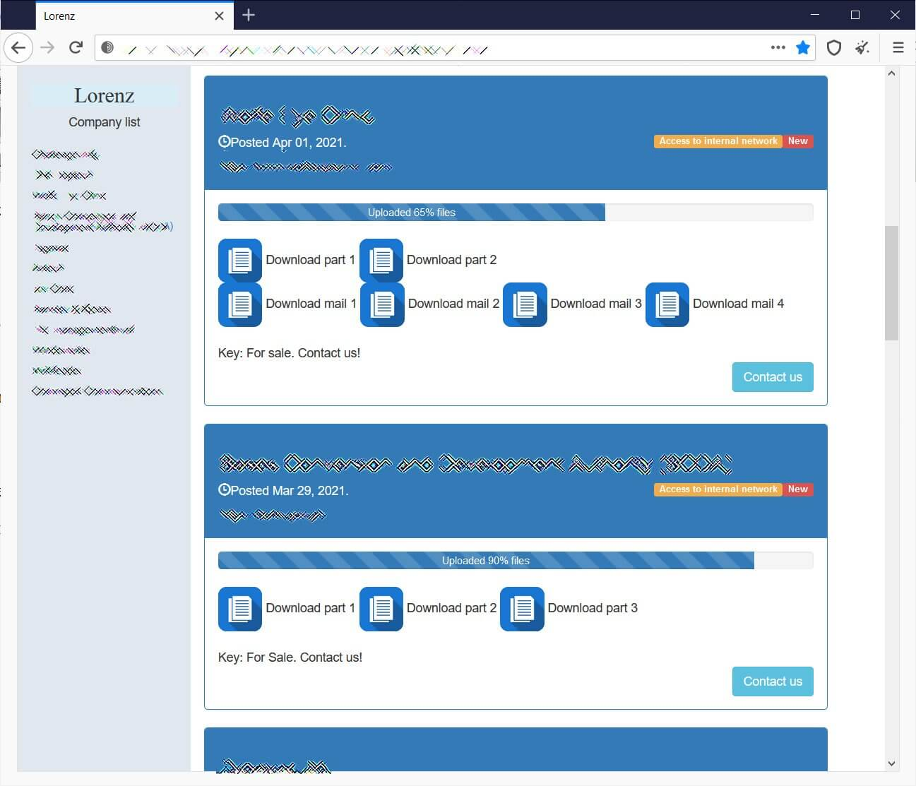 Lorenz ransomware data leak site