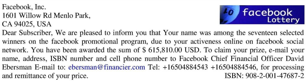 Lottery scam - Facebook