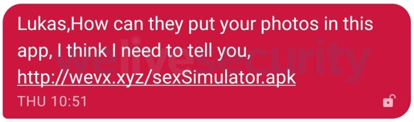 malicious sms sex simulator malware