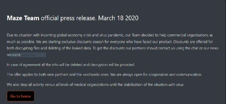 maze ransomware - maze group press release