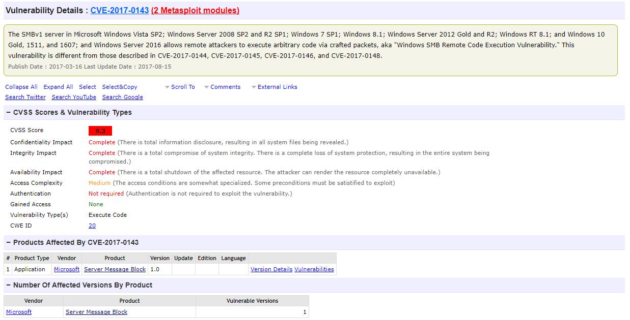 Microsoft Vulnerability CVE 2017 0143 details