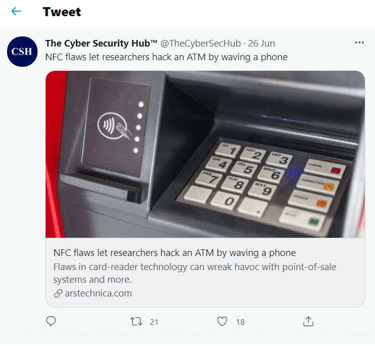 Twitter post on NFC Vulnerabilities topic